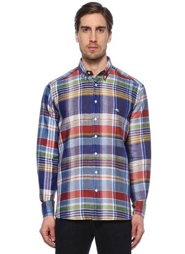 %100 Keten Ekoseli Uzun Kollu Gömlek-Etro